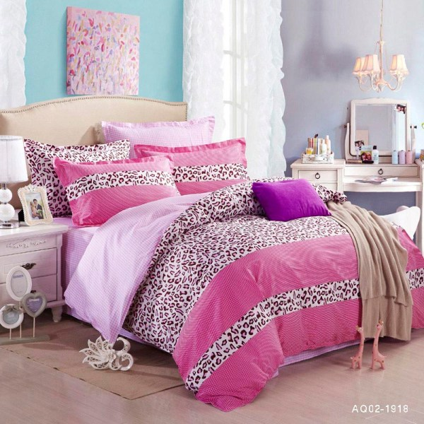 2015 Bedding Set 100 Cotton Pink Leopard Printing