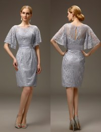 Silver Grey Short Casual Summer Sheath Lace Mother Of The ...