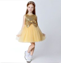 Little Girls Gold Pageant Dresses With Bow Sequins Top ...