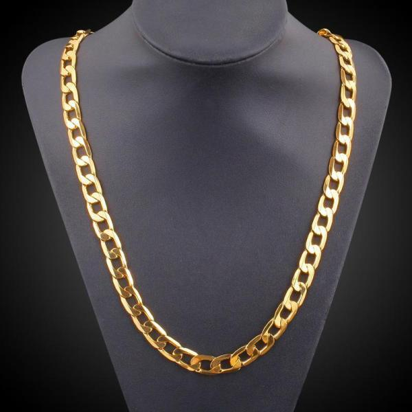 2019 Vintage Long Gold Chain Men Necklace Brand Trendreal Plated Thick 18k 9
