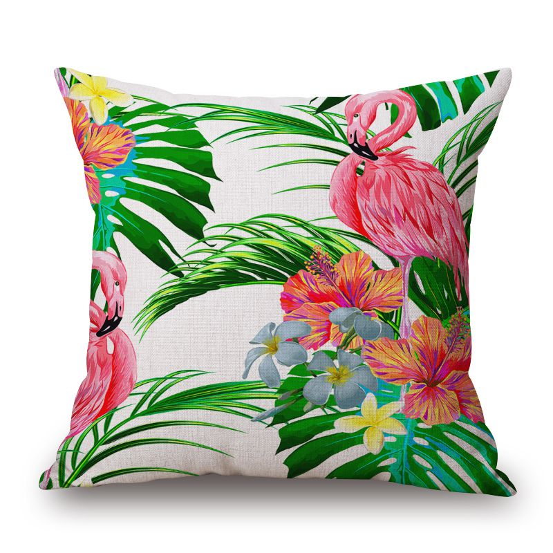 Fashion Flamingo Cushion Cover Tropical Jungle Throw