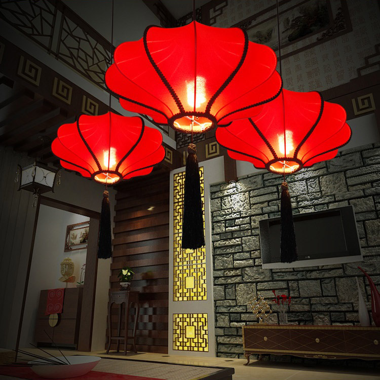 20 Chinese Style Fabric Lantern Tassels Ceiling Pendant