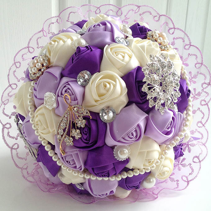 Hot 2015 Wedding Bouquet Purple Rose Flowers With Lace