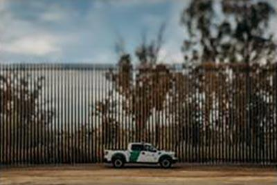 El Centro Sector border after construction of steel bollard wall