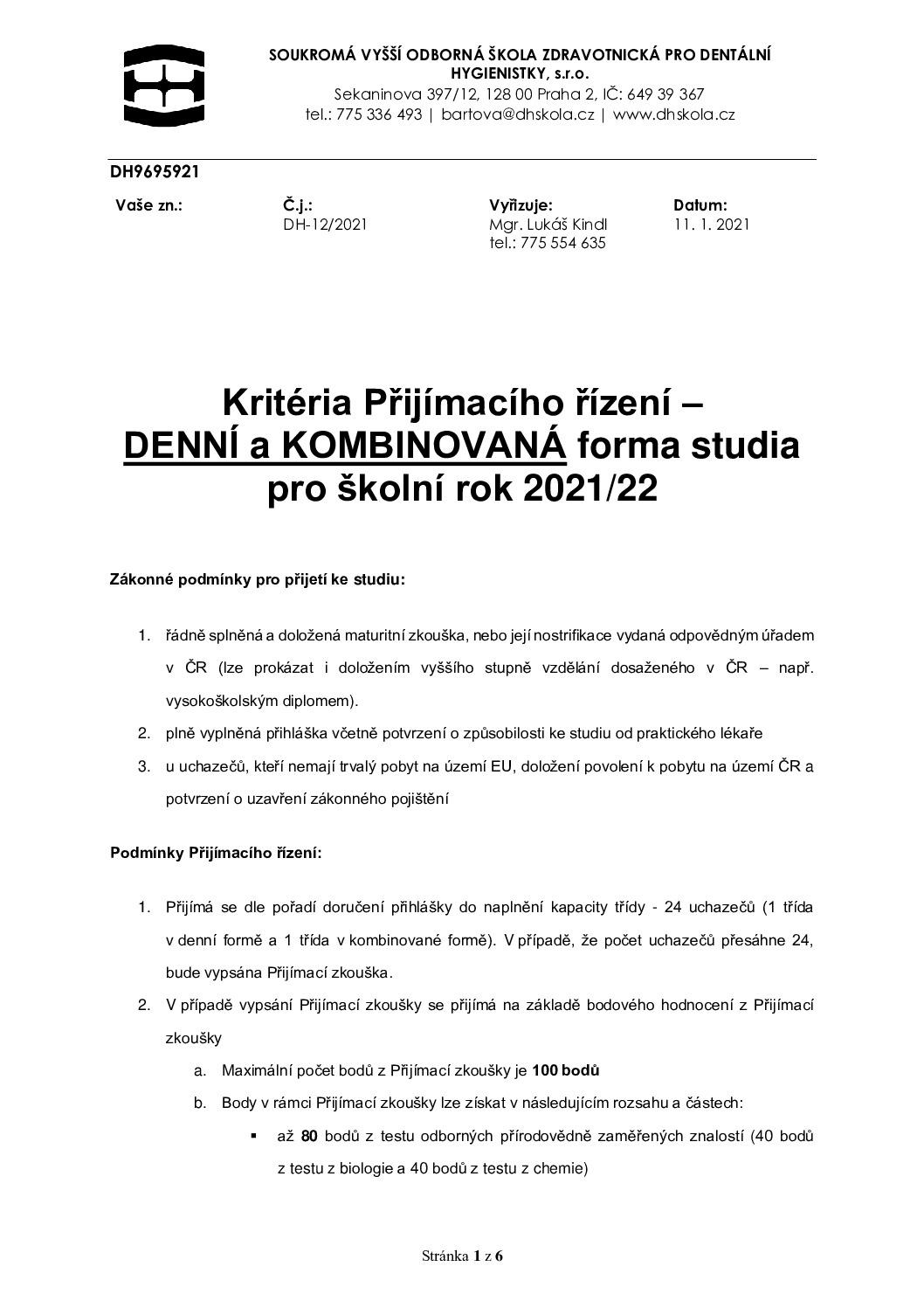 thumbnail of Kritéria – Kritéria příjmacího řízení DES KOS 2021-22 #12-2021