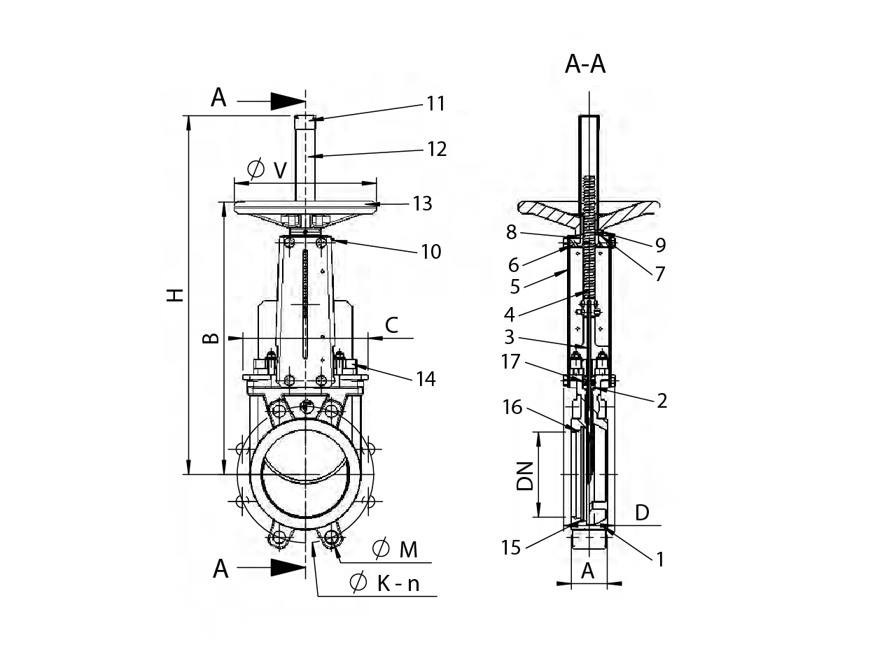 Knife Gate Valve With Handwheel Cast Iron Body