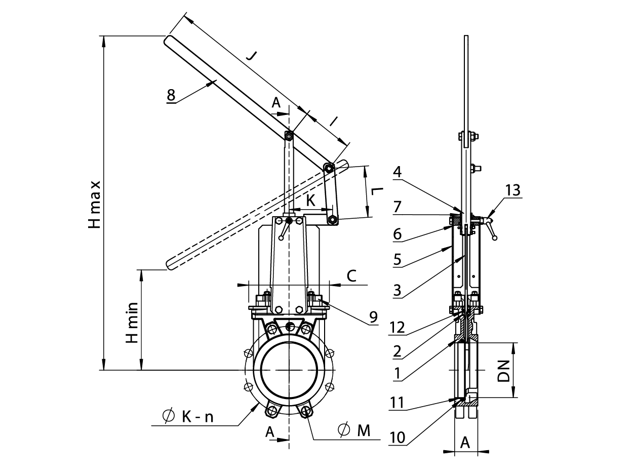 Knife Gate Valve With Lever