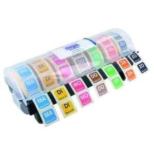 Gevulde stickerdispenser HACCP stickers | Datumstickers | Horeca stickers Weg op