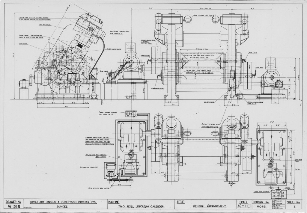 ULRO + FLCB- Technical Drawing of Linoleum Calender in