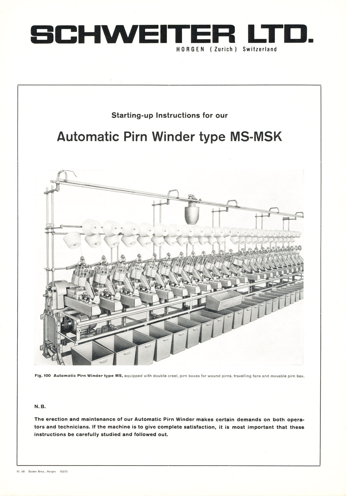 Automatic pirn winder instruction booklet in Jute