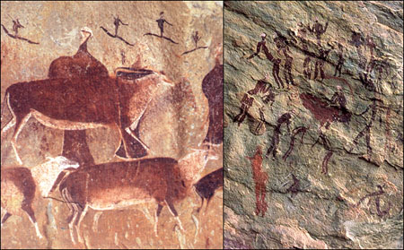 Cave Painting of ancient Vegetable insrtument buffet party