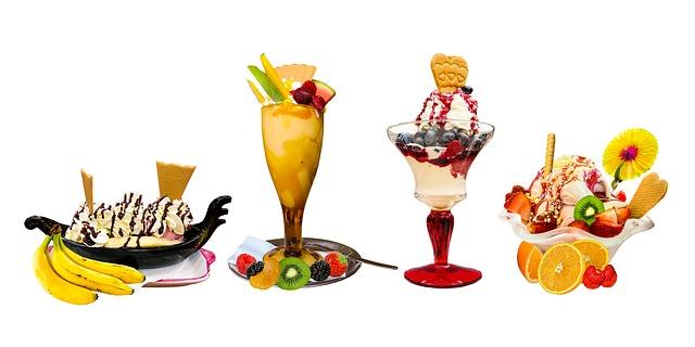 Fruits et sorbet en été