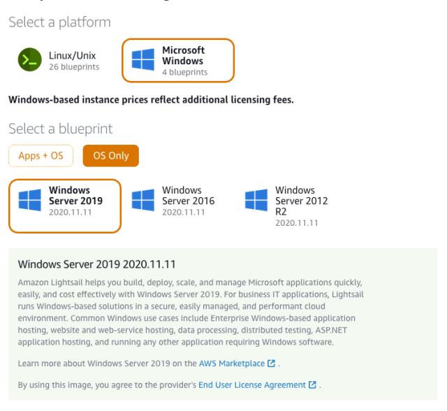 Lightsail Windows OS