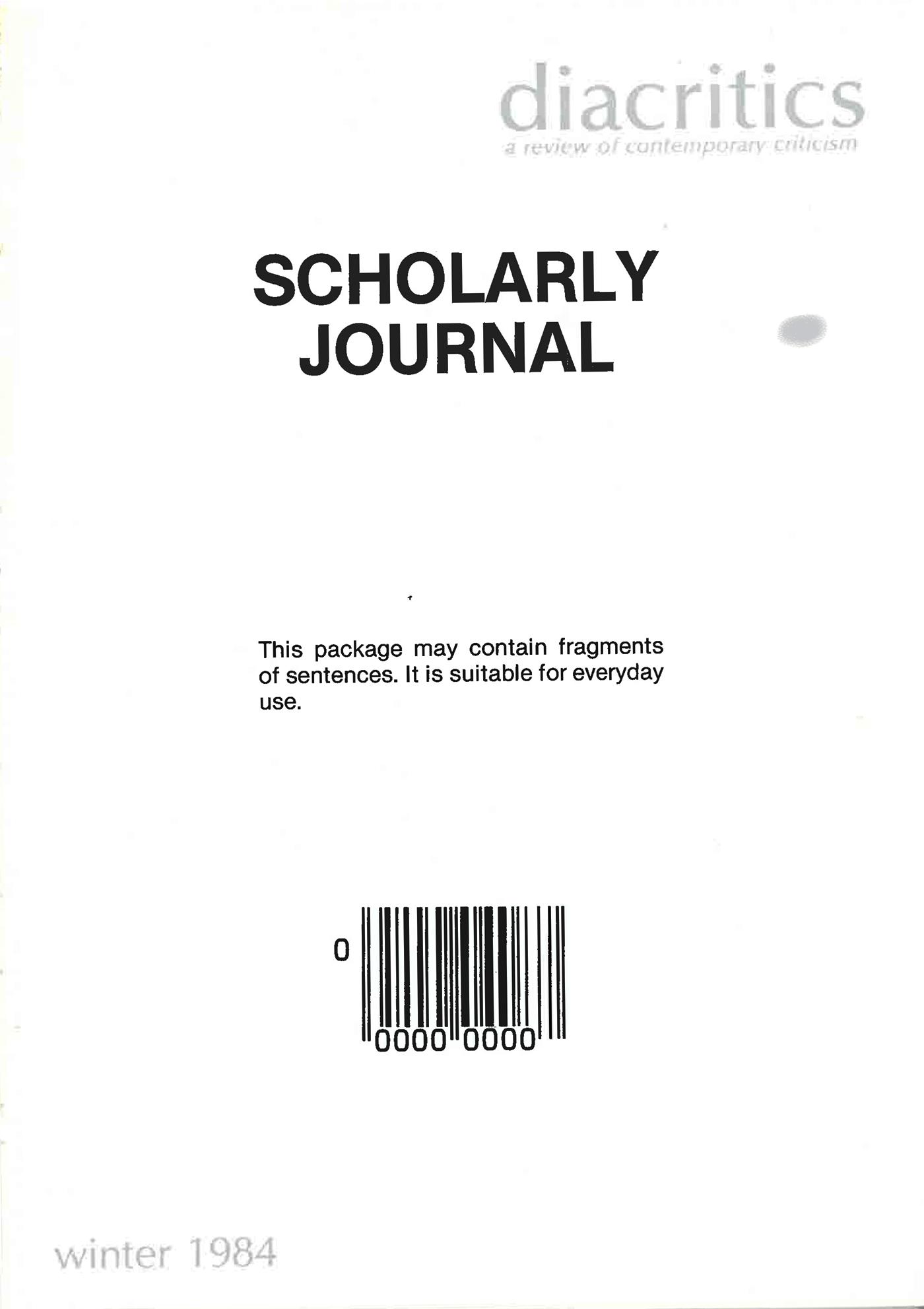 DIACRITICS VOLUME 14 NUMBER 4 1984