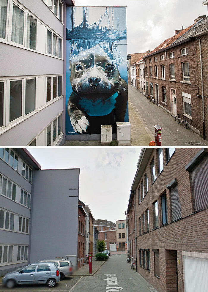 Diving Dog Mural, Mechelen, Belgium