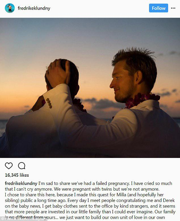 Tough time: After they lost the twins in the first miscarriage, the devastated realtor took to Instagram to let his fans know the sad news