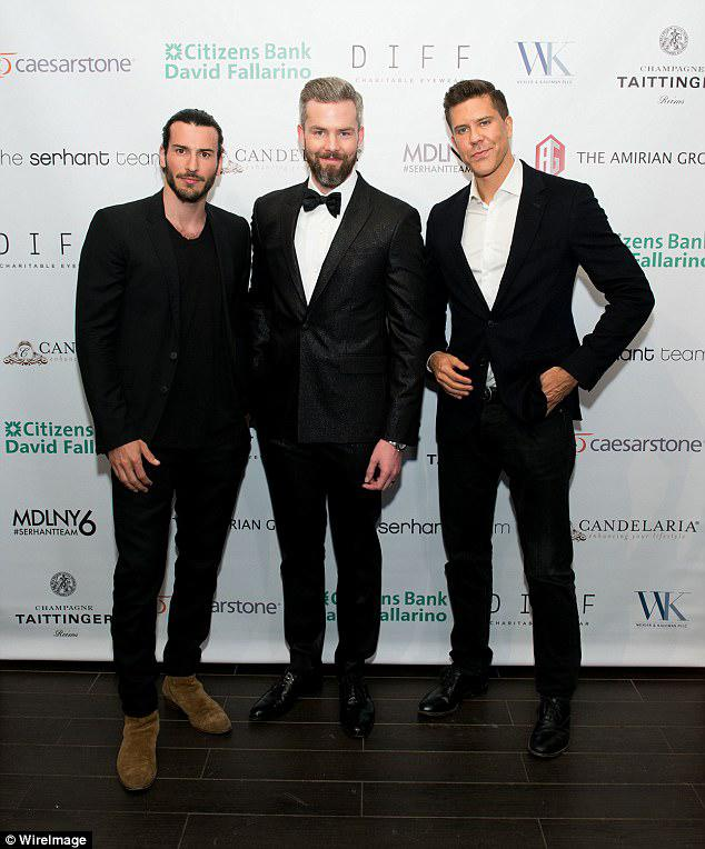 Respectful: The realtor said while it has been very 'difficult' for him and Derek, he knows it has been harder on their surrogates. He is seen here at the premiere with co-stars Steve Gold and Ryan Serhant
