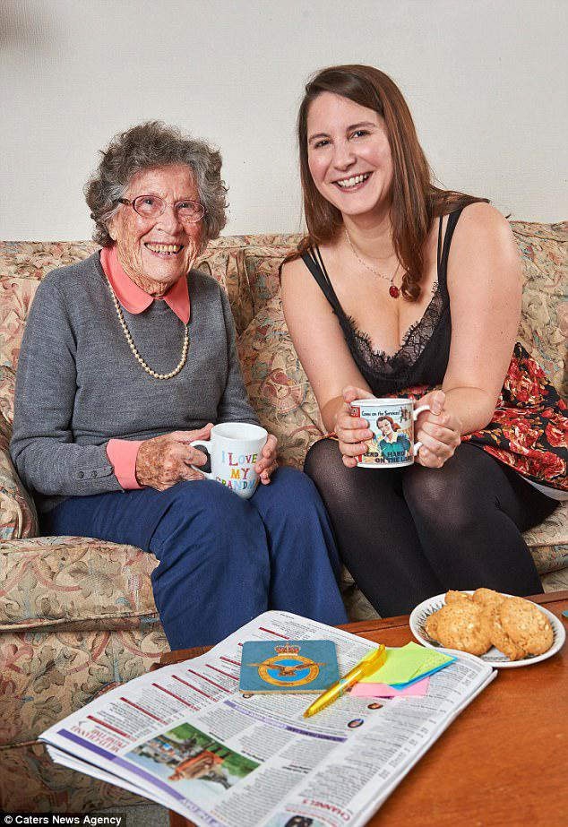 Best of friends: Alexandra Knox, 27, from Newcastle, moved in with 95-year-old RAF veteran Florence Smith in south-west London when she started a Masters degree