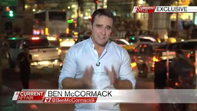 At the top of his game: NSW police raided the offices of A Current Affair last year on the day Mc Cormack (pictured reporting for the TV show) was arrested