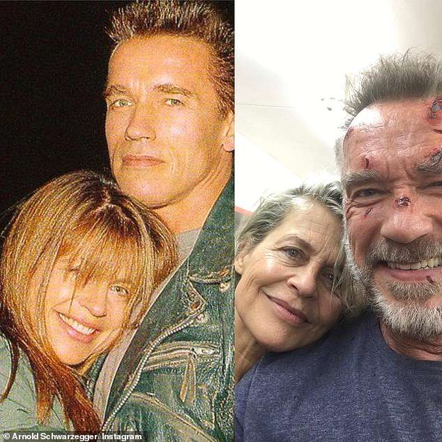 Then and now: Arnold Schwarzenegger, 71, and Linda Hamilton, 62, reunite on Terminator 6 set for a as the actor wishes her happy birthday... 34 years on from the original