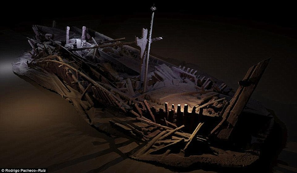Shown here is a shipwreck from the Ottoman period discovered 300 metres beneath the Black Sea. Many of the wrecks' details and locations are being kept secret by the team to ensure they remain undisturbed