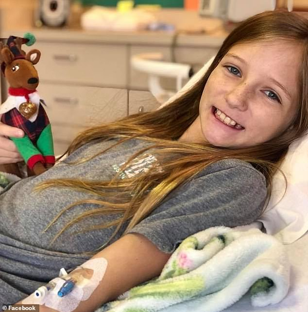 Roxli Doss, 11 (pictured), from Buda, Texas, was diagnosed with a high-grade tumor known as Diffuse Intrinsic Pontine Glioma (DIPG) in June