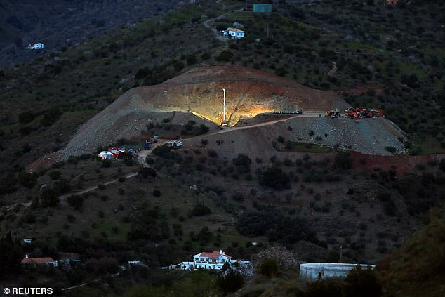 Drilling work at the area where Julen, fell into a deep well six days ago close to the private estate, in Totalan, southern Spain