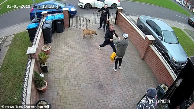 The mother's son storms over to the man who was apparently harassing his mother inMiddlesbrough, northeast England