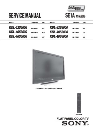 Sony KDL 26S3000, 32S3000, 46S3000 Bravia LCD Service