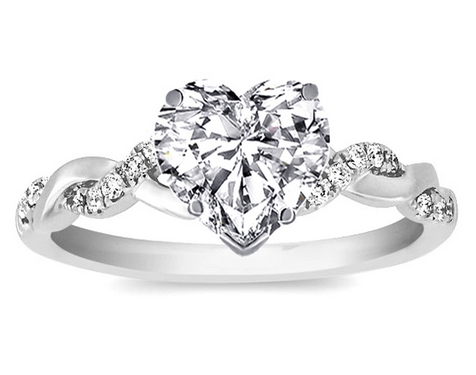hearth shape diamond ring