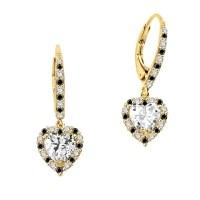 Diamond Essence leverback earrings, 1.0 Ct. each, Heart ...