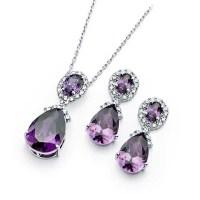 Diamond Essence Amethyst Earring and Pendant Set, 12.5 Cts ...