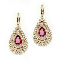 Diamond Essence Designer Earrings with Pear Cut Ruby ...