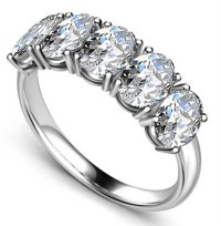 5 Stone Oval Diamond Half Eternity Ring