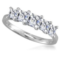 5 Stone Asscher Diamond Half Eternity Ring