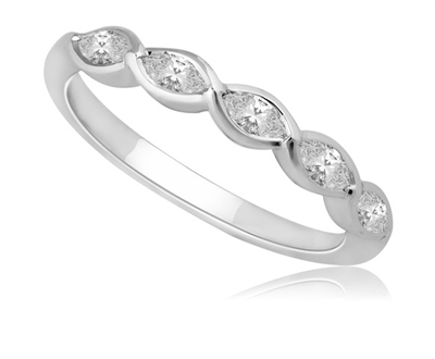 5 Stone Marquise Diamond Half Eternity Ring