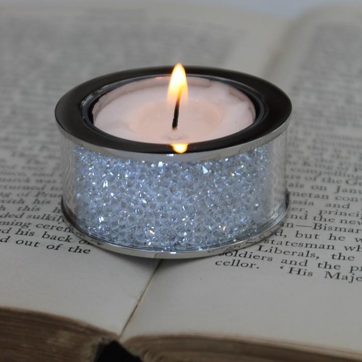 Small Swarovski Crystal Filled Tea Light Candle Holder