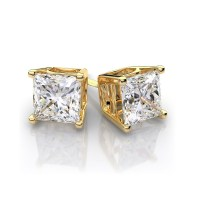 9ct Gold Square Swarovski Stud Earrings