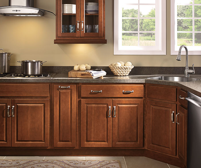 hinges for kitchen cabinets mats walmart diamond at lowes - find your style peyton cherry whiskey ...