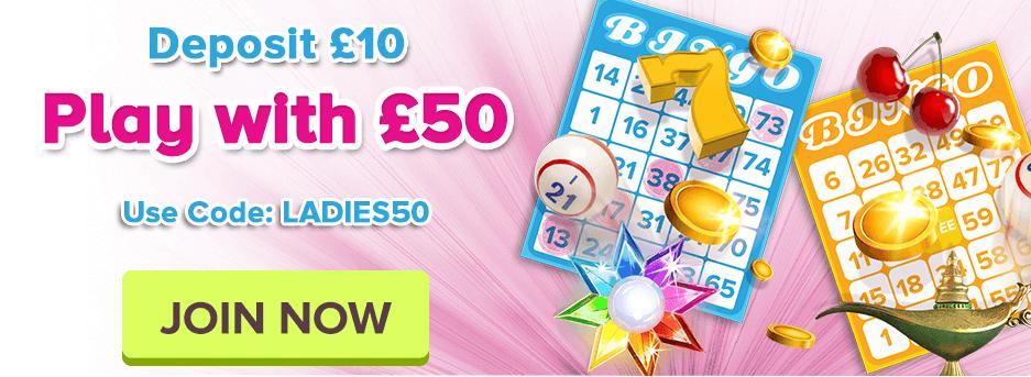 888Ladies: Deposit £10 Play With £50