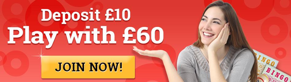 888Bingo: Deposit £10 play with £60