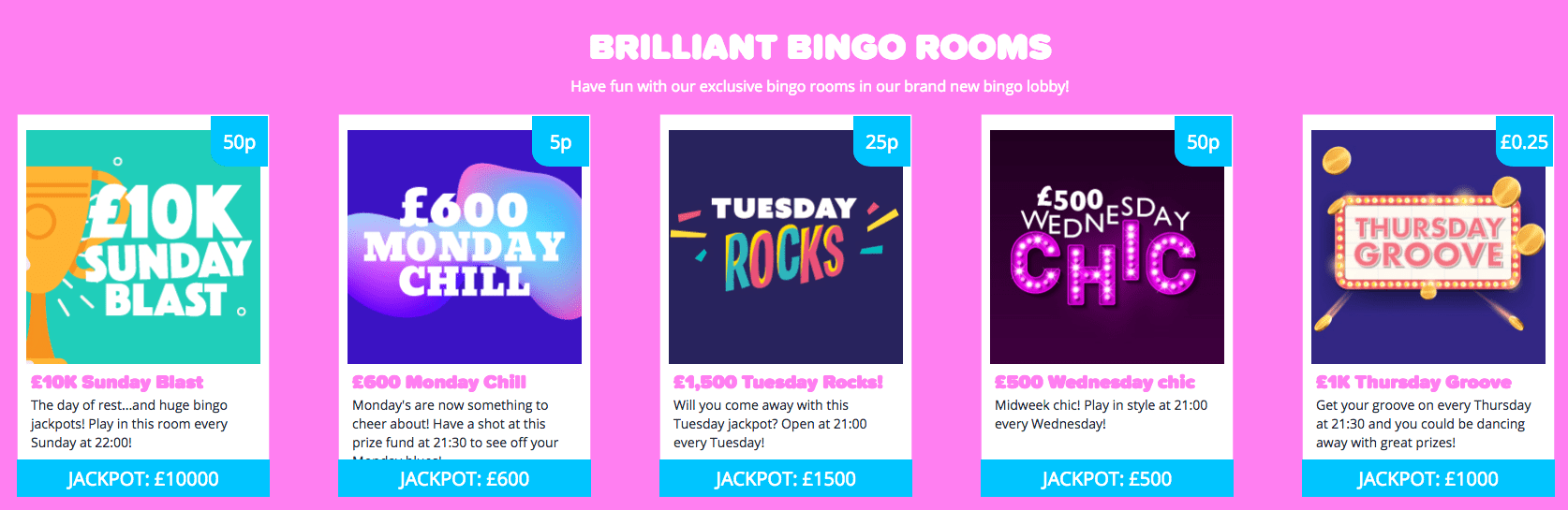 YAY Bingo Jackpot rooms