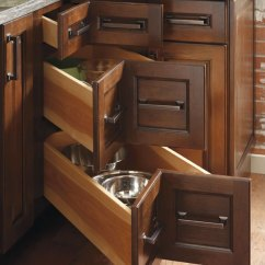Kitchen Cabinets.com Garbage Can Three Drawer Corner Cabinet - Diamond Cabinetry