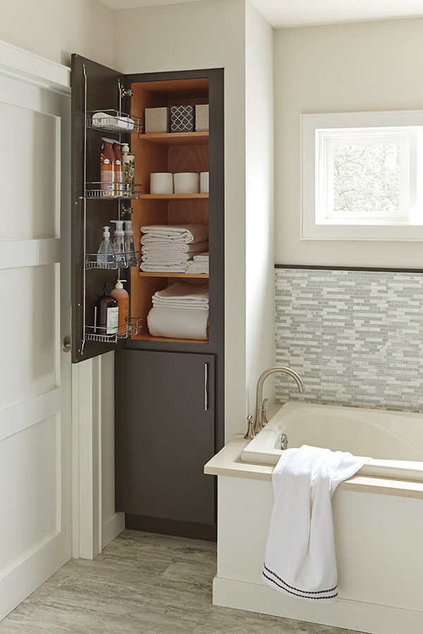 Linen Closet with Removable Hamper  Diamond Cabinetry