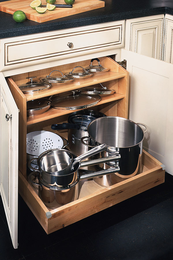 kitchen cabinets.com counter desk base pots and pans organizer - diamond cabinetry