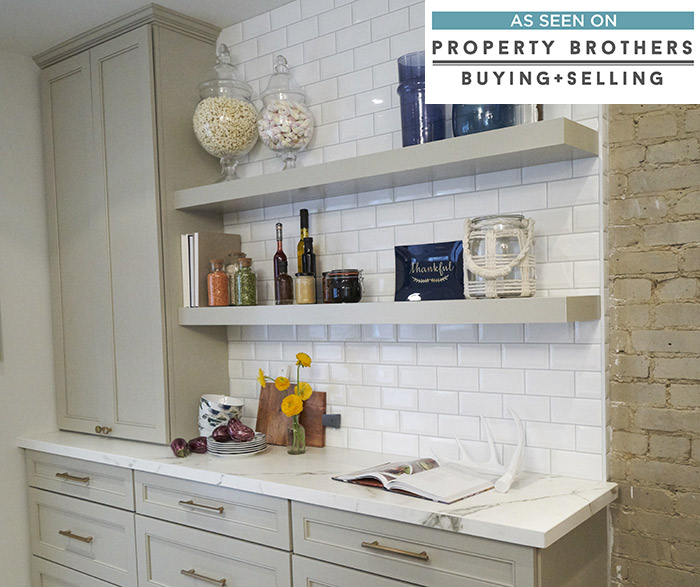 Gray Kitchen Cabinets With Floating Shelves Diamond