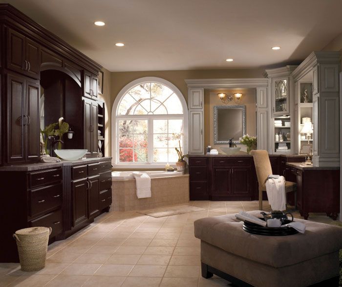 Dark Wood Cabinets in Traditional Bathroom  Diamond