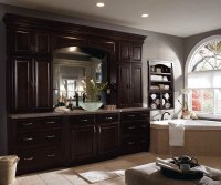 Dark Wood Cabinets in Traditional Bathroom