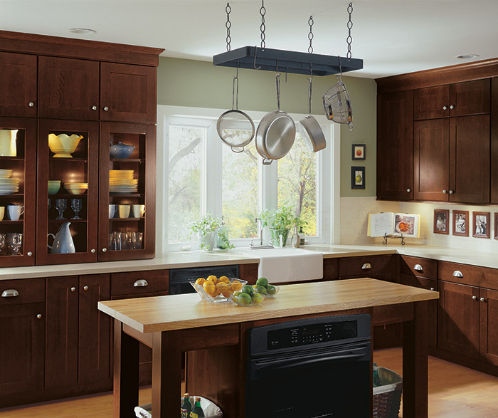 shaker kitchen cabinets aid appliance style diamond cabinetry in cherry henna finish