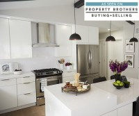 The Stylish High Gloss White Kitchen Cabinets In Kitchen ...